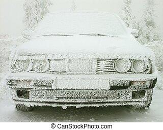 voiture, gelée, couvert