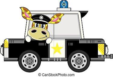voiture, girafe, police, dessin animé, policier