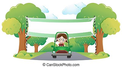 voiture, girl, bannière, gabarit, conduite