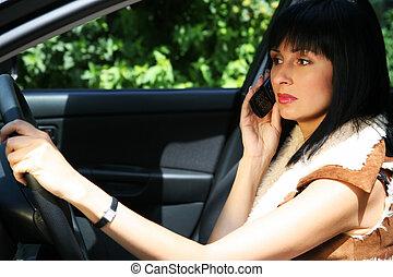 voiture, girl, joli