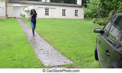 voiture, girl, parapluie, asseoir