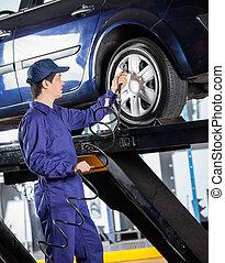 voiture, gonfler, mécanicien, pneu, garage