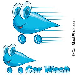 voiture, goutte, isolé, laver, blanc, dessin animé