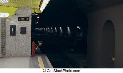 voiture, haut, station, en mouvement, métro, a conduit