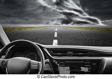 voiture, highway.