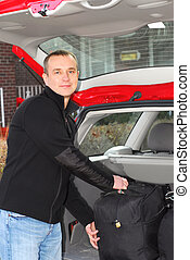 voiture, homme, bagage