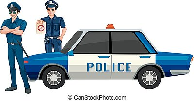 voiture, homme police