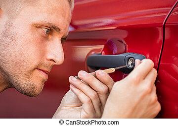voiture, homme, porte, lockpicker, ouverture