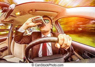 voiture, homme, vehicle., conduite, ivre