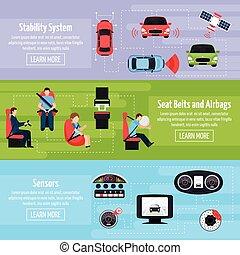 voiture, horizontal, sécurité, systèmes, bannières