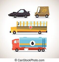 voiture, icône, ensemble, plat, 6