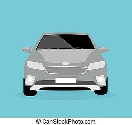 voiture, icône, plat