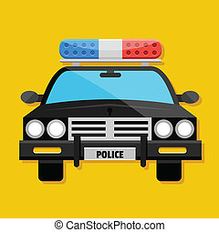 voiture, icône, police, vecteur