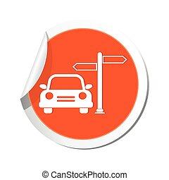 voiture, icône, signe, route