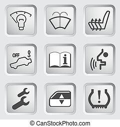 voiture, icônes, 4, tableau bord