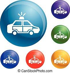 voiture, icônes, vecteur, ensemble, police