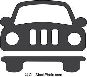 voiture, illustration, arrière-plan., vecteur, noir, blanc, icône