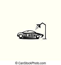 voiture, illustration, douche, laver, vecteur, sous, logo, minimal