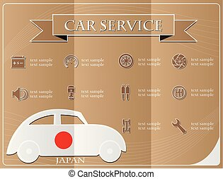 voiture, illustration, drapeau, vecteur, service, japon