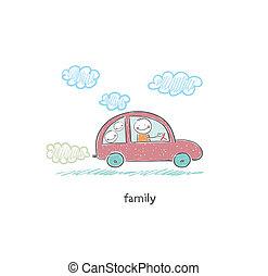 voiture., illustration., famille