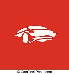 voiture, illustration, sports, vecteur, logo, blanc, minimal