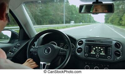 voiture, intérieur, route, pendant, voyage, autoroute, vue