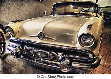 voiture, intérieur, vieux, musée