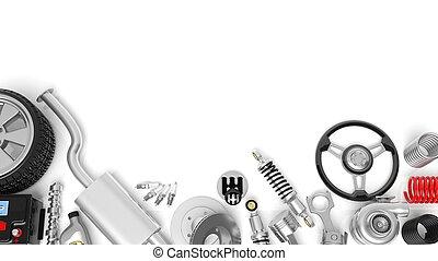 voiture, isolé, accessoires, parties, divers, fond, blanc