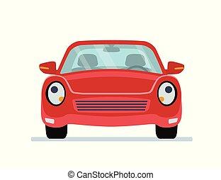 voiture, isolé, arrière-plan., blanc, dessin animé, rouges