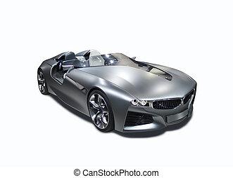 voiture, isolé, devant, nouveau modèle, sport, vue côté