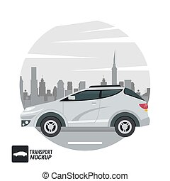 voiture, isolé, icône, couleur, mockup, blanc