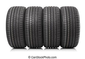 voiture, isolé, pneus, arrière-plan., nouveau, blanc