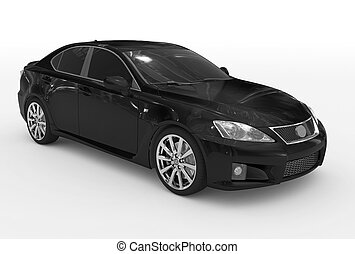 voiture, -, isolé, verre, teinté, noir, peinture, front-right, blanc, vue côté