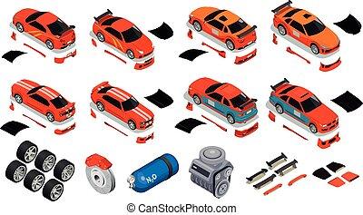 voiture, isométrique, ensemble, accord, icônes