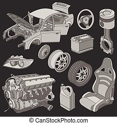 voiture, isométrique, parties, icônes