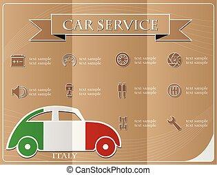 voiture, italie, illustration, vecteur, drapeau, fait, service