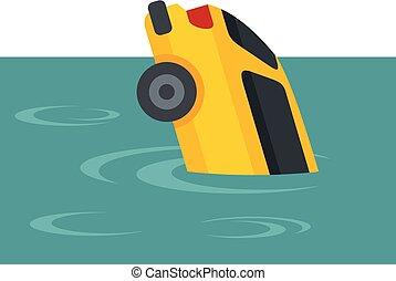voiture jaune, plat, inondation, style, icône