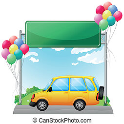 voiture, jaune, rue, vert, signage, long