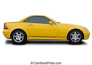 voiture, jaune, sports