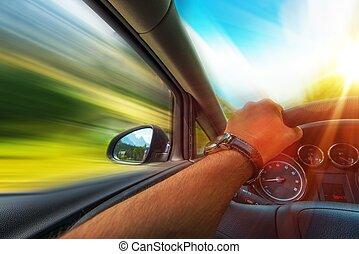 voiture, jeûne, conduite
