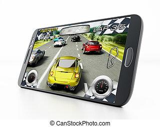 voiture, jeu, courses, vidéo