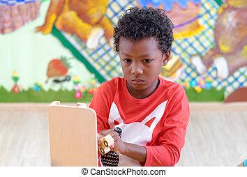 voiture, jeu, noir, jardin enfants, américain, concept., classe, jouet, préscolaire, gosse, education
