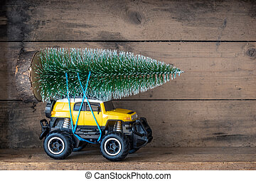 voiture, jouet, arbre, noël, jaune