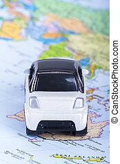 voiture, jouet, carte