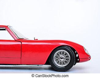 voiture jouet, isolé, sports, blanc rouge