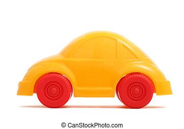 voiture, jouet, (isolated), jaune