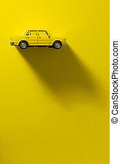 voiture, jouet, jaune, arrière-plan.