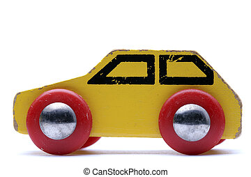 voiture, jouet, jaune