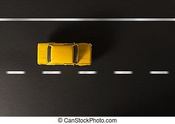 voiture, jouet, noir, jaune, arrière-plan.