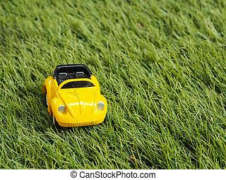 voiture jouet, parc, vert jaune, field., herbe